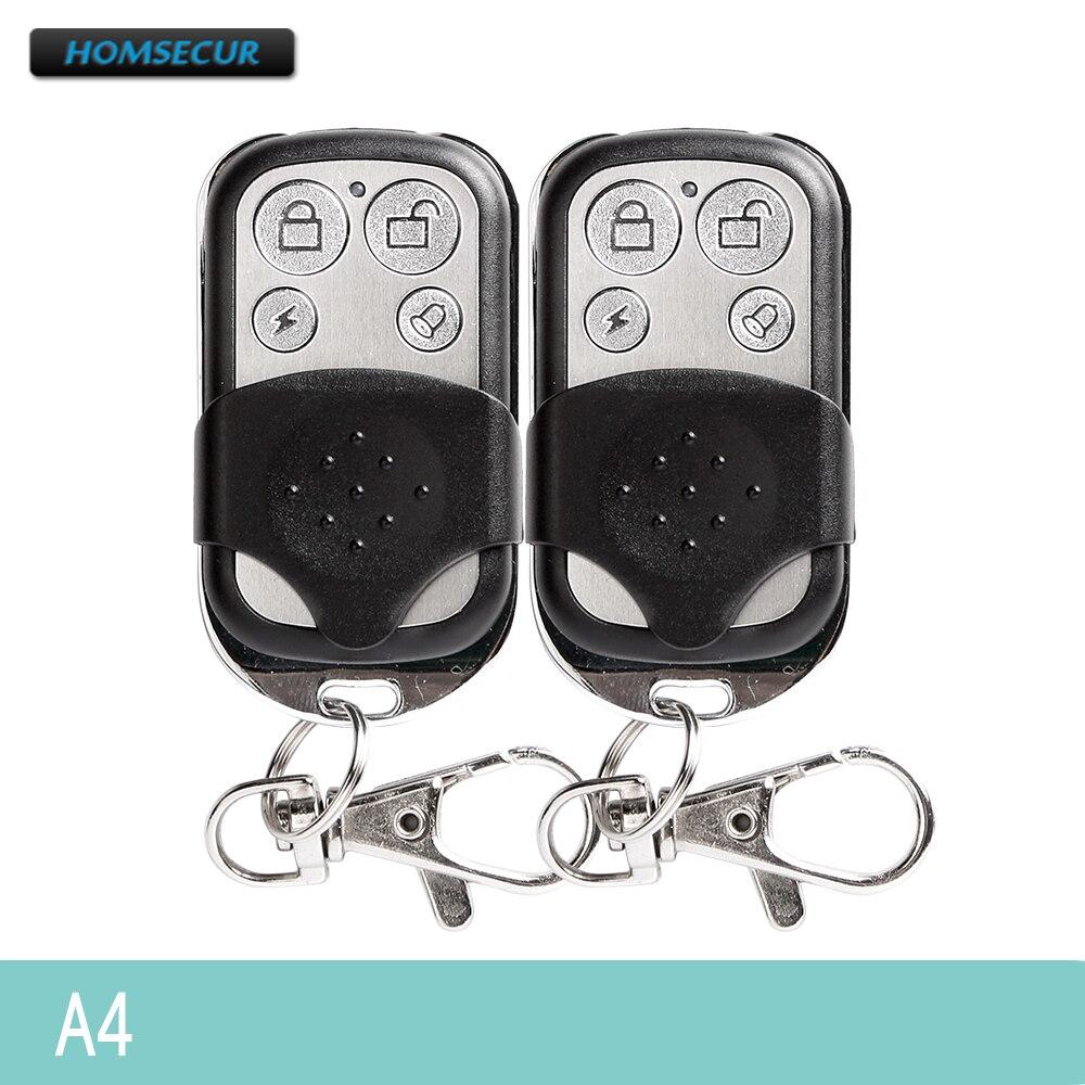 HOMSECUR Keyfob Alarm-System Remote-Control 433mhz for Our 2pcs A4 Metallic RF 4CH