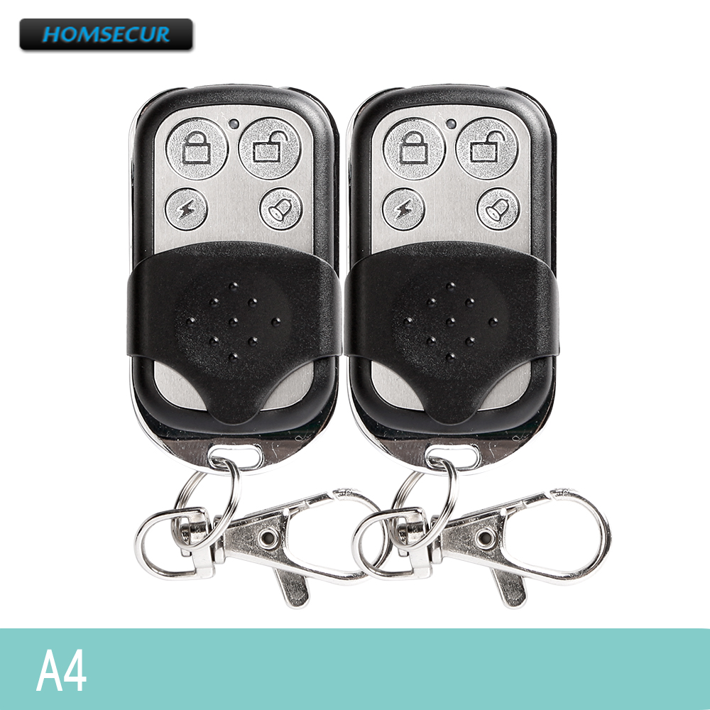 HOMSECUR 2Pcs 4CH RF Metallic Remote Control Keyfob A4 For Our 433MHz Home Security Alarm System