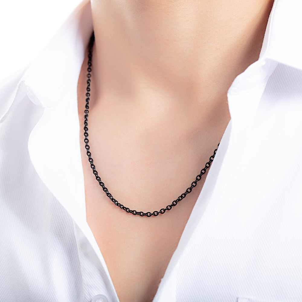 Wholesale 316L Stainless Steel Long Necklace Chain, Single O Design Necklaces Chains, Long Neckless Women Men Jewelry Necklace