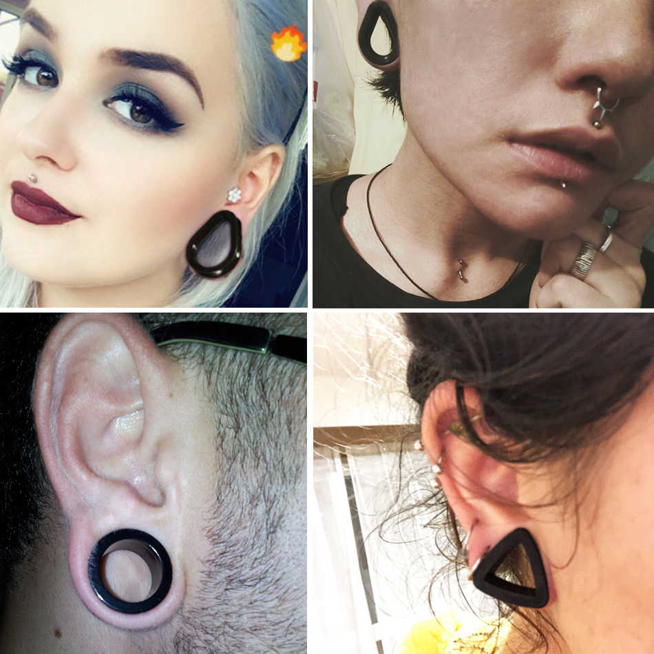 2pcs Lot Different Shape Silicone Double Flared Ear Plugs Flesh Tunnel Ear Gauge Expander Stretcher Ear Piercings Jewelry 4 22mm