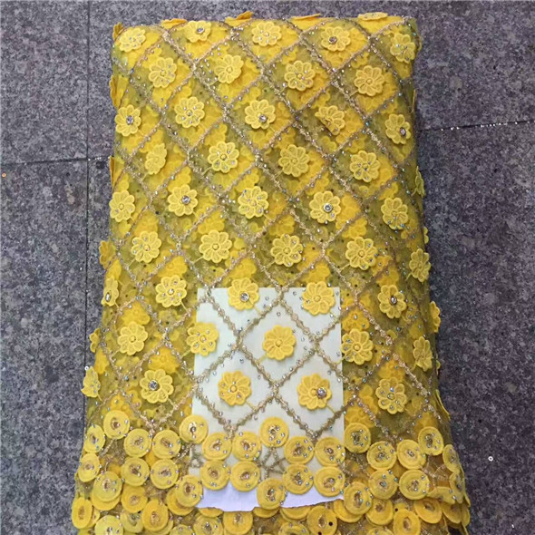 Nigerian Lace yellow Bridal Swiss Voile High Quality Guipure French Lace Fabric With Beads Embroidered African