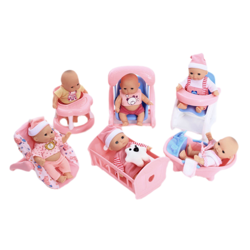 Jimusuhutu 5 インチスーパーファッションビニールシリコーン楽しい再生新生児人形と 6 セットアクセサリーギフトのためのかわいいプレイセット  グループ上の おもちゃ & ホビー からの 人形 の中 1