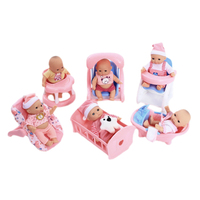 Jimusuhutu 5inches Super Fashion Vinyl Silicone Fun Play Newborn Baby Doll with 6 set Accessories Gift Toy for Girl Cute Playset