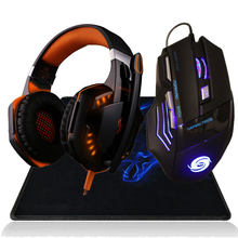 3200 DPI LED backlight USB Wired Gaming Mouse Computer Mice+Over-ear Gamer Headphone Headset+Mouse Pad for lol dota 2 Computer(China)