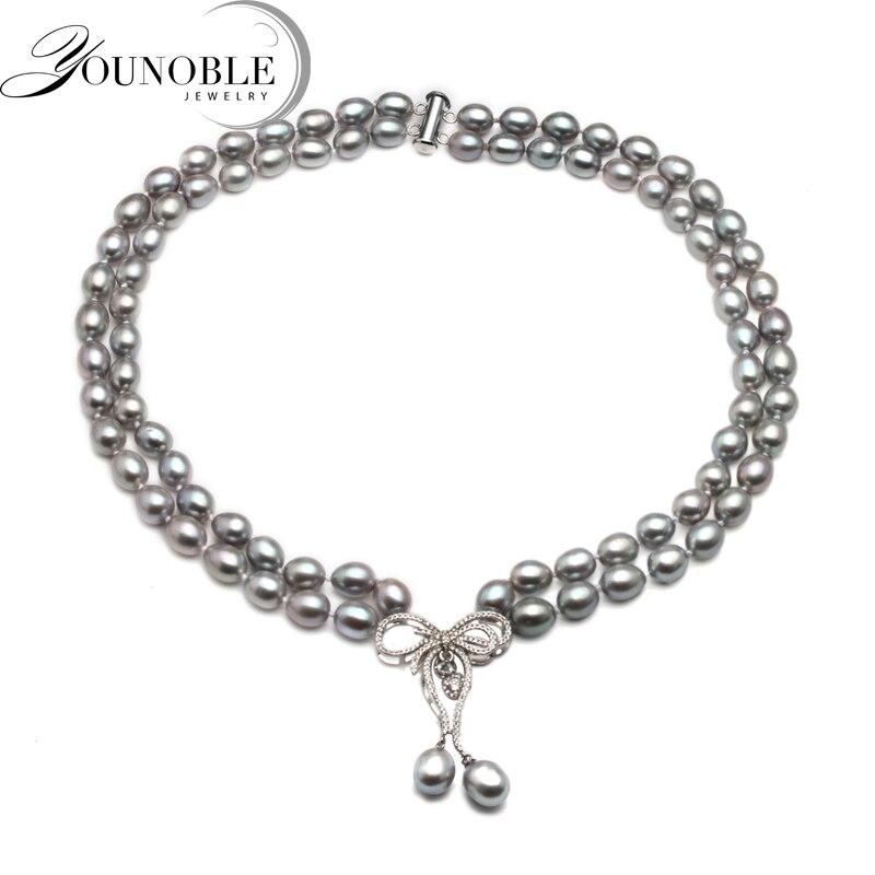 Настоящее роскошное двойное серое жемчужное ожерелье женское, модное колье на день рождения подарок annivesary пресноводное жемчужное ожерелье