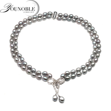 Real luxury double grey pearl necklace women,trendy choker birthday gift annivesary freshwater