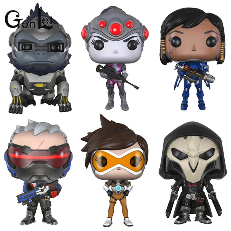 GonLeI OW 10cm Dowin action Figure Tracer Game Widow Maker D.VA MEI GENJI HANZO McCree Soldier 76 Bastion Doll Kids Toys new patterns game genji ow metal weapons zinc alloy exquisite darts rotatable ninjia professional cosplay props kids gift in box