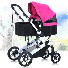 Высокая пейзаж подвеска коляски четыре колеса двусторонний свет складной сидеть ложь ребенка корзину