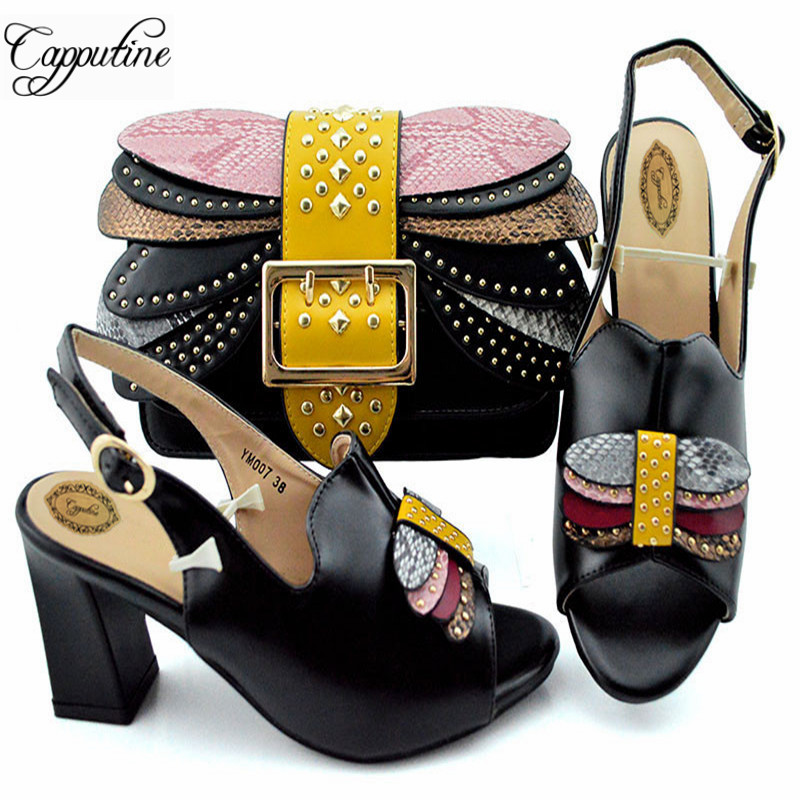 Capputine Nice Design Italian Ladies Shoes And Matching Bags Latest African PU Leather Women Shoes And Bags Set For SaleCapputine Nice Design Italian Ladies Shoes And Matching Bags Latest African PU Leather Women Shoes And Bags Set For Sale