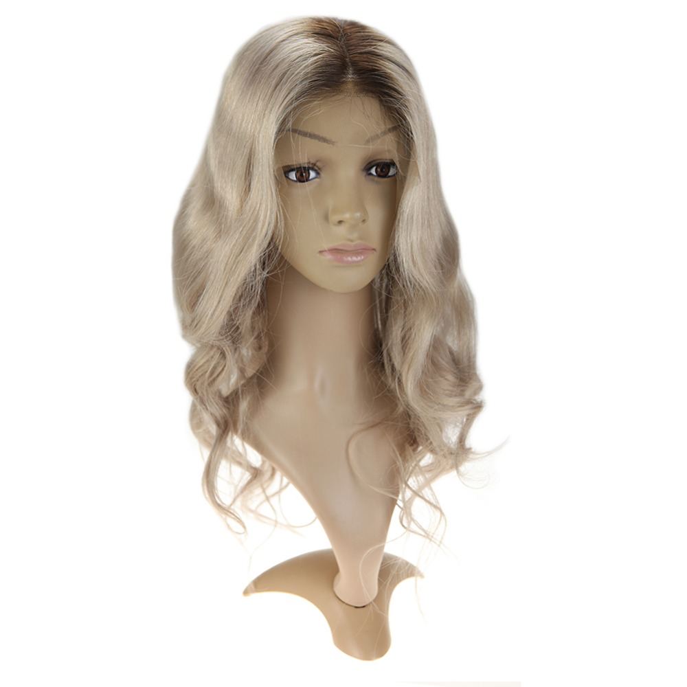 Full Shine Long Natural Wave Lace Front Wigs With Baby Hair Color #6 Fading To #18 Ash Blonde Highlighted #6 Machine Remy R Wig