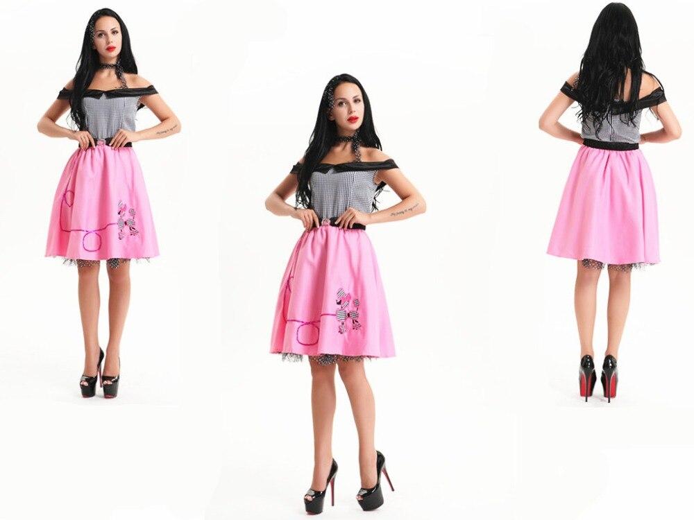 d69072ead17e free shipping Womens 1950's Grease Rockabilly Rock N Roll Dance Fancy Dress  Costume All size m l