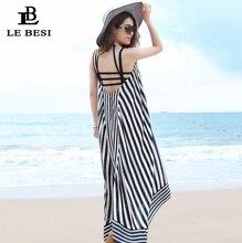 LEBESI 2017 Cover Up Backless Beach Sarong Traje de Rayas Blanco y Negro Falda de La Playa Del Halter Superior Vendaje Kaftan Blusa Ocio
