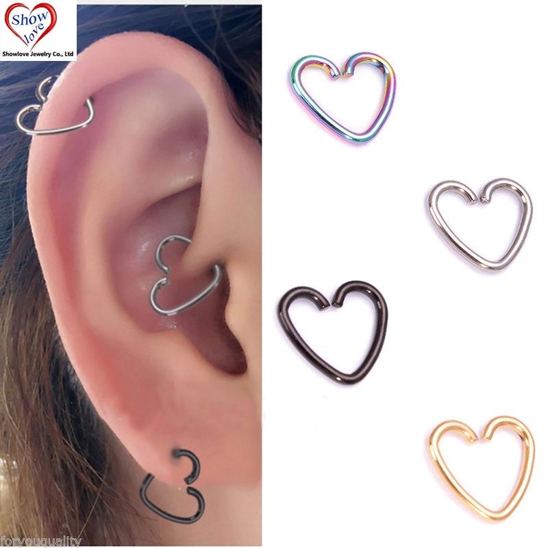 Showlove 4pcs Surgical Steel Heart Ring Piercing Hoop