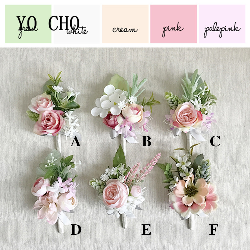 YO CHO Bride Wedding Wrist Corsage Groom Boutonniere Pink Artificial Silk Rose Flower Bracelet Prom Party Meeting Corsages Decor