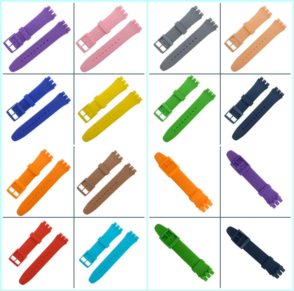 Wrist Watch Band Strap for Swatch 16mm 17mm 19mm 20mm Rubber Silicone Watchband Accessories