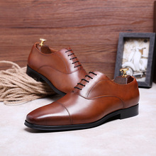 Leather Dress Men's Shoes Three Joints Pointed Business Shoes Large Size Men's Shoes