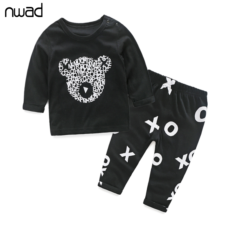 NWAD Newborn Baby Boy Clothes Cute Panda Printing Clothing Set For Baby Kids Long Sleeve T Shirt + Pants 2PCS Suits FF072