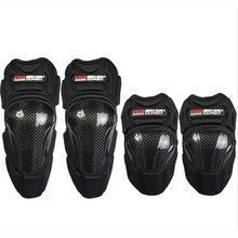 4PCS/SET PROBIKER Motorcycle Carbon Fiber Knee pads elbow pads body Protector Motocross Racing Knee Guards MX KneePads