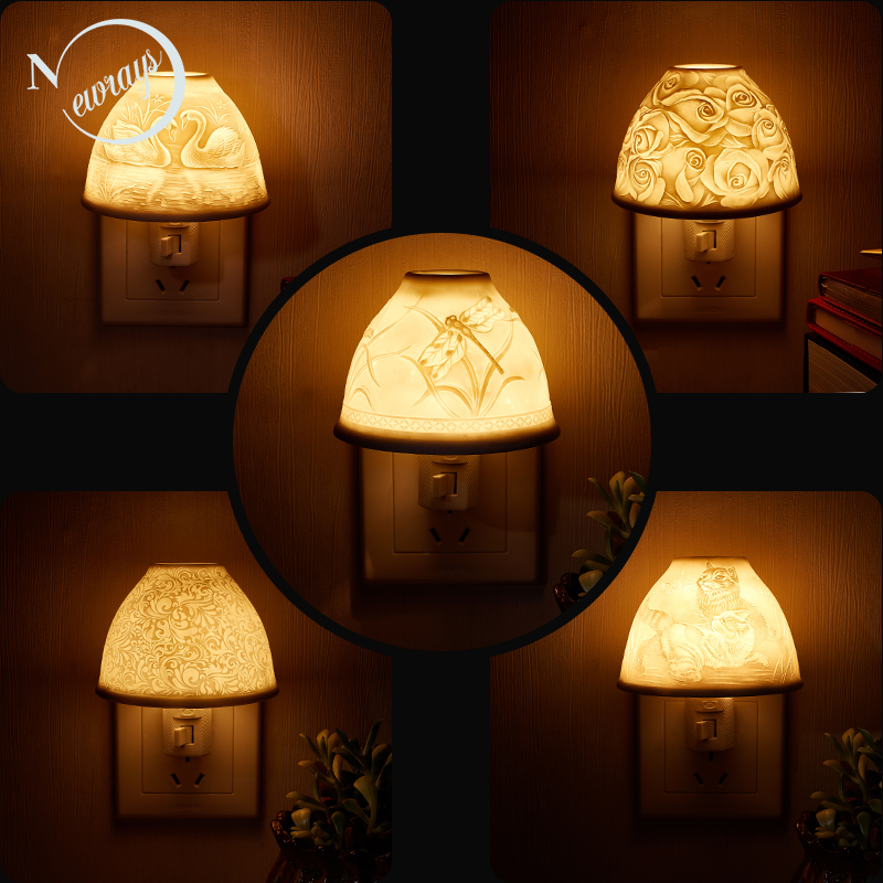 Brief ceramic white animal relief LED night light sleeping children s bedroom bedside fragrance Lamp EU