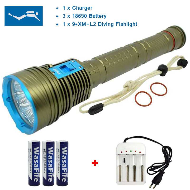 Underwater Light 9x XM-L L2 20000 Lumen LED Diving Flashlight Powerful 150m Scuba Diver Dive Torch Lamp + 18650 Battery +Charger l2 led 3800 lumen 100 meters underwater diving diver 18650 flashlight torch light lamp waterproof