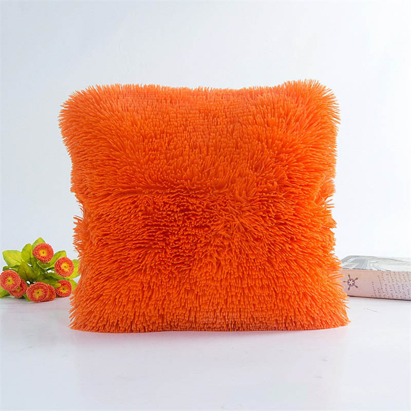 Square Waist Throw Pillowslip Soft Plush Pillow Case Bed