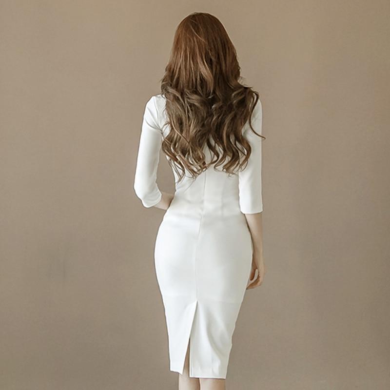 Robes Sexy Européenne Mode Moitié Manches Lady Vêtements Slim Office Femmes Automne Costumes Blanc À Crayon Split Coréenne Nouveau Robe 2018 pGSUMVqLz