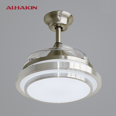 ALHAKIN 42 inches Bright Nickel Ceiling Fan With Light 4 ...