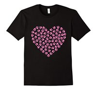 Pawprint Pink Heart Animal Love T Shirt Valentine S Day Summer Short Sleeve Shirts Tops S