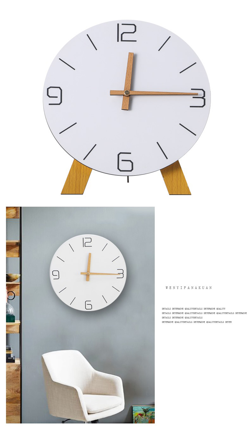 study clock watch office office table decoration flip calendar bamboo clock desk clock circular electronic desktop clock dementia clock (8)