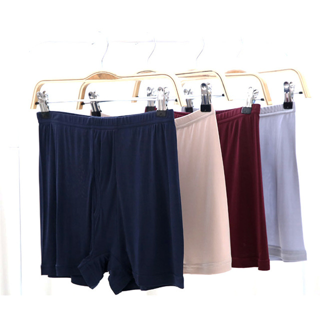 Lightmindedness breathable male silk panties sericiculture trunk plus size knitted four angle shorts
