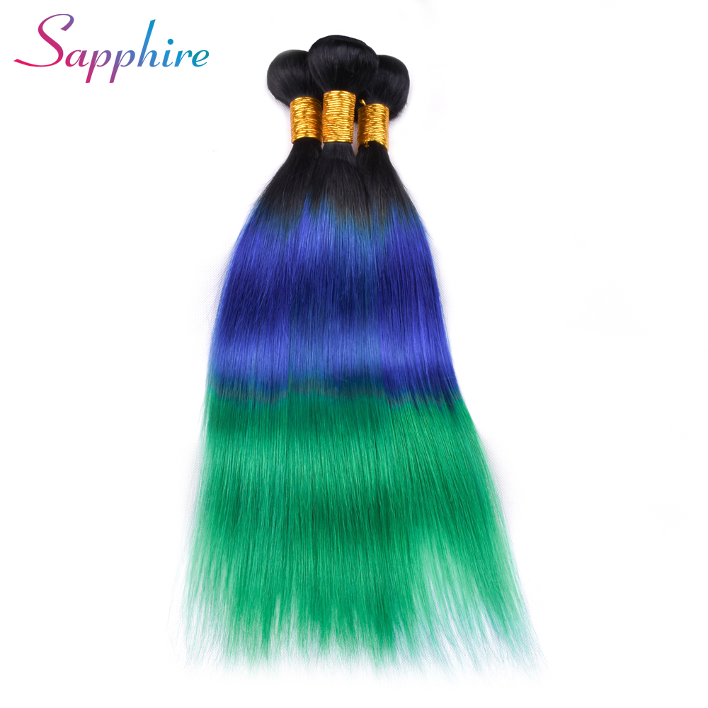SAPPHIRE Peruvian Straight Hair Bundle 100% Human Hair Weave Remy Hair 4/Lot Ombre Color TB/Blue/Green Free Shipping