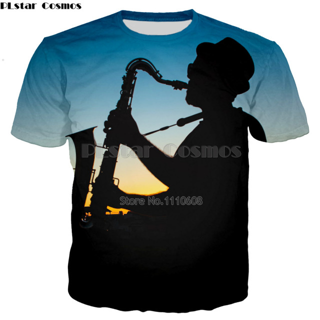 f3aef2e1 PLstar Cosmos Short T Shirt Saxophone old men T-Shirt women Men for Rock  Disco Party sound activated style cool top tees