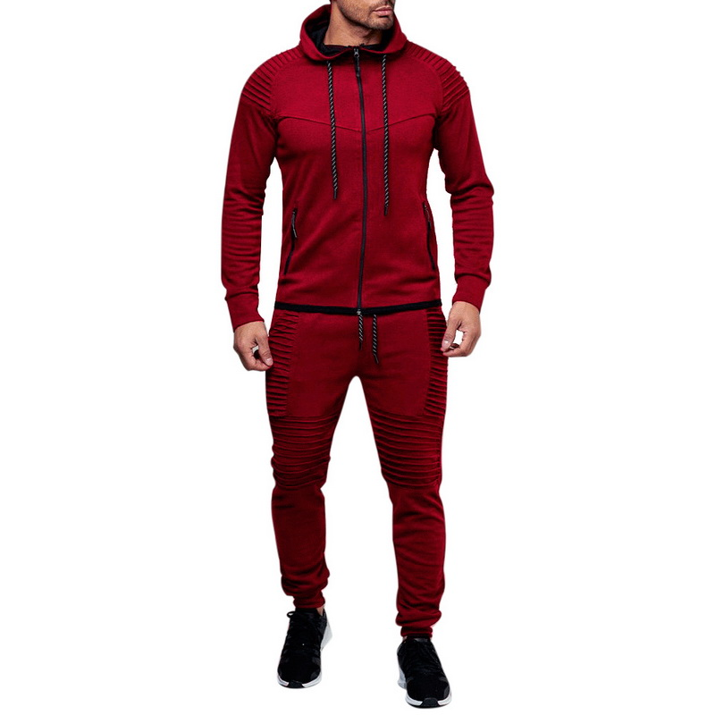 HTB1m1e5asnrK1RkHFrdq6xCoFXaW HEFLASHOR Men Drawstring Sportwear Set Fashion Solid Sweatshirt&Pants Tracksuit Casual Zipper Hoodies Outwear Clothes 2019