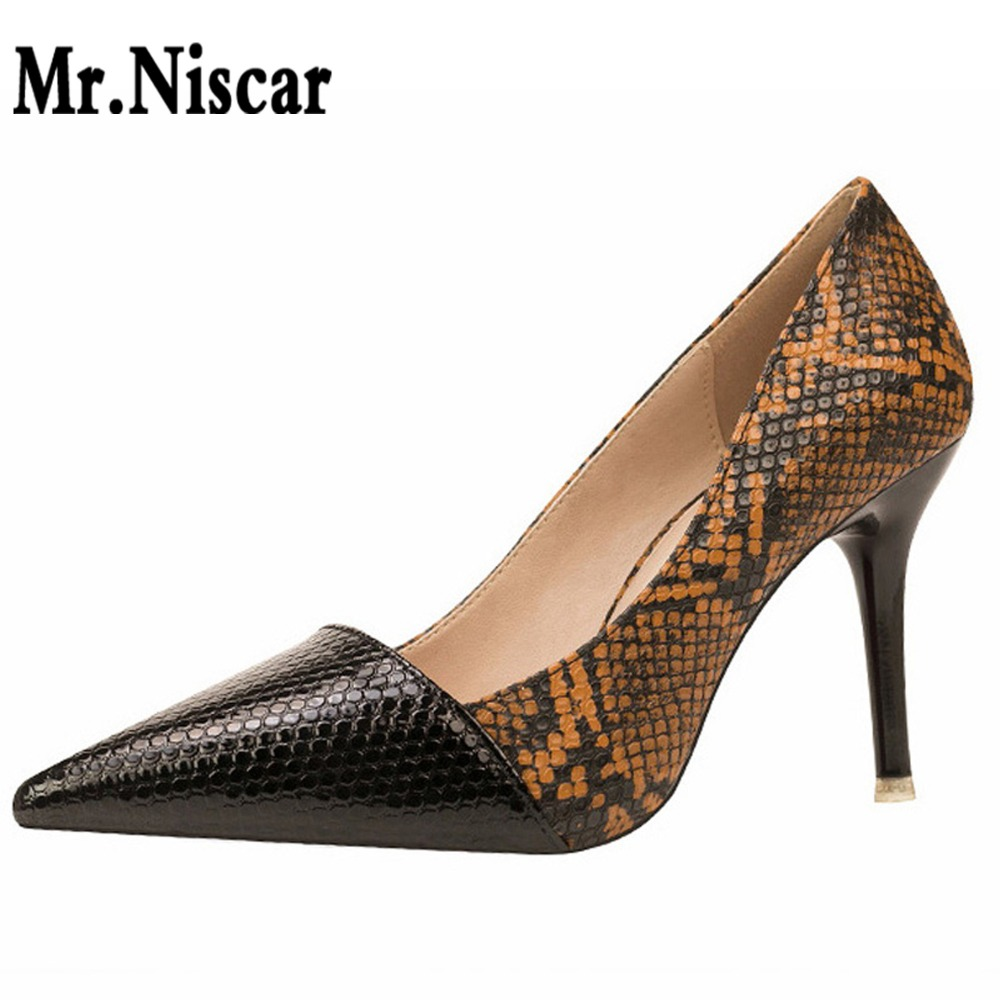 European American Style Retro High Heels Wedding Shoes Thin Heel High Heels Look Slimmer Sexy Nightclub Pumps Snake Texture dreambox simple european and american sports leather retro style hand made coarse shoes casual shoes