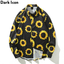 Dark Icon Sunflower Full Printed Hawaii Shirts Men Autumn Street Men's Long Sleeve For Man