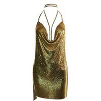 New Arrival Celebrity Sexy Dress Sparkly Halter Backless Metal Dresses Kendall Jenner S 21st Birthday Outfits