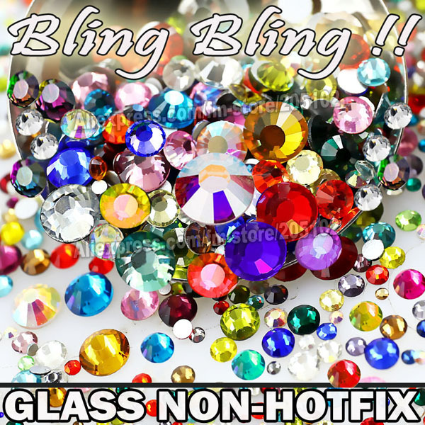 Nail Art Cystals Mix Rozmiary Kolory Szkła Non Hot Fix Mieszkanie Powrót Rhinestone os3 SS4 SS5 SS6 SS8 SS10 SS12 SS16 SS20 SS30 Glitters