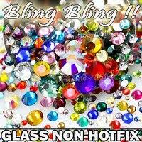 Nail art Cystals Mix Größen Farben Glas Nicht Hot Fix Flache Rückseite Strass SS3 SS4 SS5 SS6 SS8 SS10 SS12 SS16 SS20 SS30 Glitters