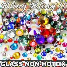 Nail Art Cystals Mix Sizes Colors 1000pcs/Bag,Glass Non HotFix FlatBack Rhinestone,SS4 SS6 SS8 SS10 SS12 SS16 SS20 SS30 glitters