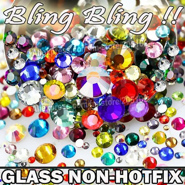 Nail Art Cystals Mix rozmiary kolory szkło Non Hot Fix płaskie z powrotem Rhinestone SS3 SS4 SS5 SS6 SS8 SS10 SS12 SS16 SS20 SS30 błyszczy