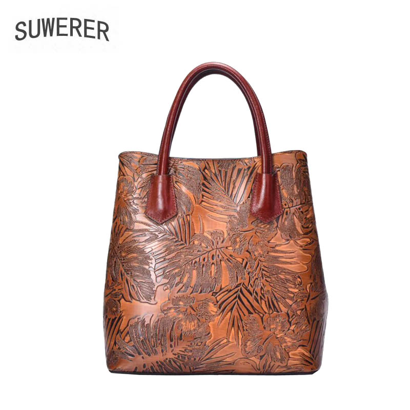 SUWERER 2019 New women genuine leather bag fashion Embossing flower Luxury cowhide handbags tote women genuine leather handbagsSUWERER 2019 New women genuine leather bag fashion Embossing flower Luxury cowhide handbags tote women genuine leather handbags