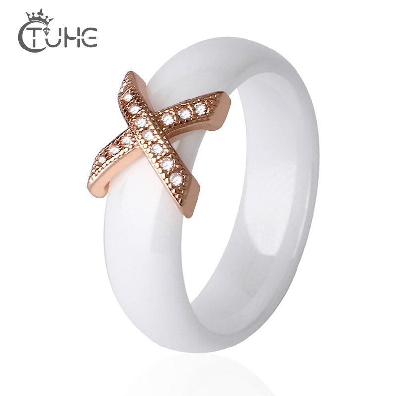 Rosa Anéis de Cerâmica Cor de Ouro Com Cristais Austríacos Moda anelli Anel Cruz X Engagement anillos bague Anéis anel para As Mulheres