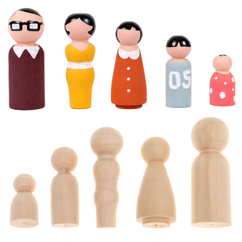 5 шт Деревянный без финишной отделки Семья колышки для кукол органов для картина-раскраска DIY поделок дома Свадебная вечеринка украшения