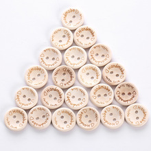 Hand Made with Love Sewing Wood Button 15mm/20mm/25mm Round Decorative Craft Buttons High quality 100 pcs/pack