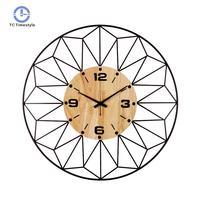 Wall Clocks Metal Raw Wooden Big Needle Digital Watches Household Tea Room Decoration Crafts Brief Quartz Wall Clock