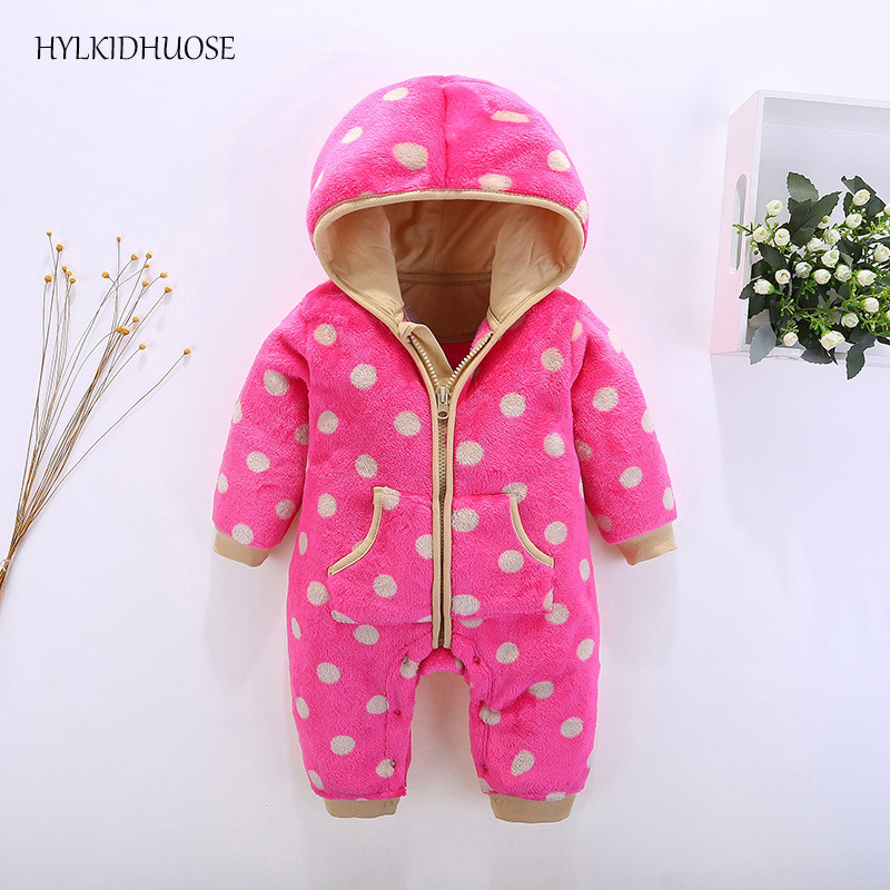 HYLKIDHUOSE 2017 Autumn Infant Newborn Rompers Baby Girls Boys Rompers Hooded Flannel Children Jumpsuits Kids One Piece Clothes cotton baby rompers set newborn clothes baby clothing boys girls cartoon jumpsuits long sleeve overalls coveralls autumn winter