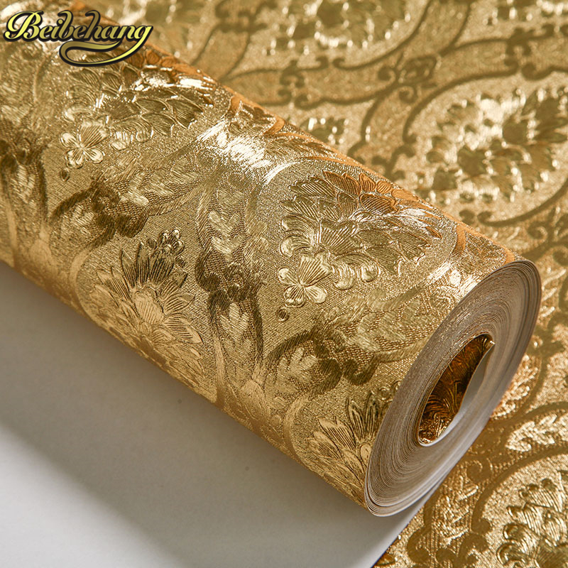 Beibehang silver gold foil wall paper rolls home decor for Wallpaper roll