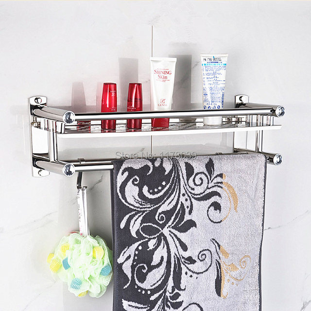 Suction Wall Stainless Steel Bathroom Towel Rack Shelf And Hooks No Drilling Hole Double