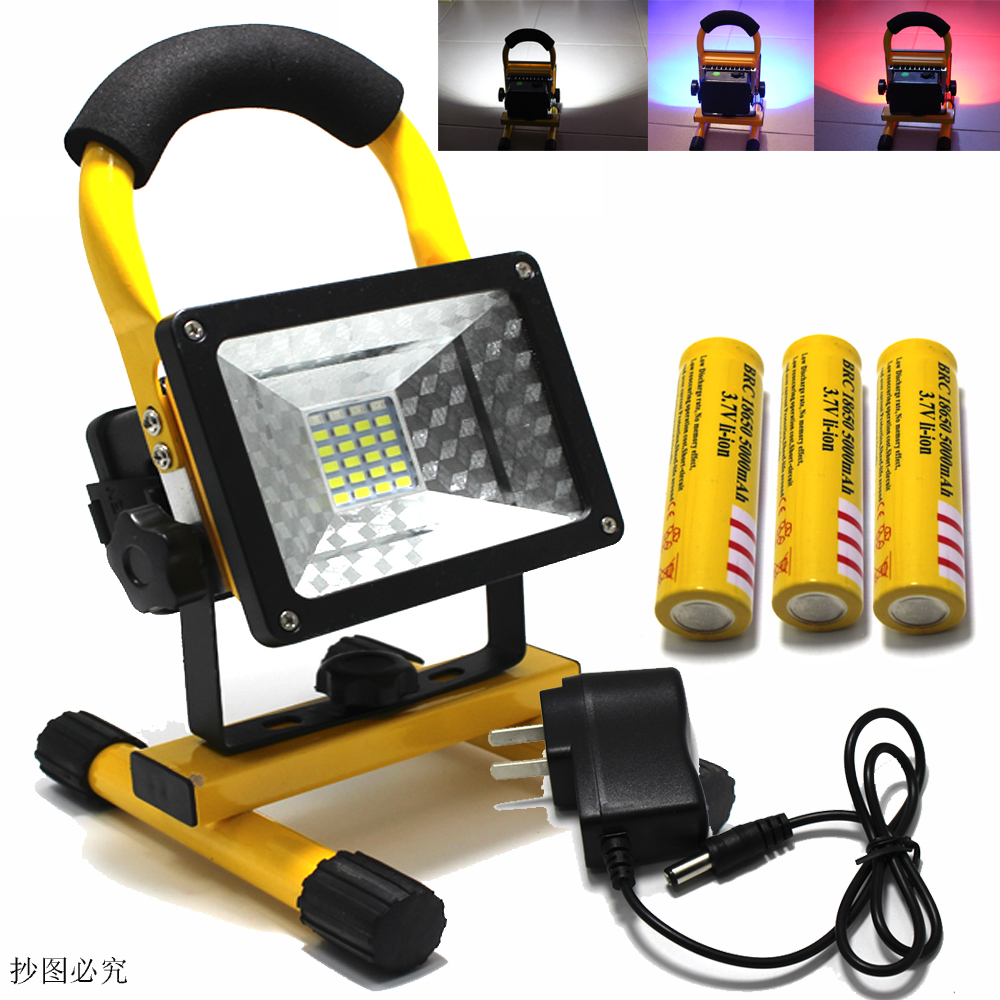 18650 Portable Rechargeable Floodlight 30W 24 led Flood light Waterproof Outdoor rechargeable lights +charger+3x18650 battery new 6 18650 battery new powerful lights rechargeable led floodlight 100leds 2400lumen 100w flood lamp portable light