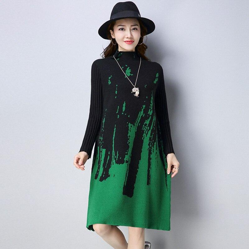 2018 New Autumn Winter Woolen dress knitted dress Women printed large size Long sweater dress